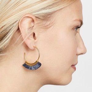 NEW Madewell Fringe Hoop Earrings Gold & Grey Gift